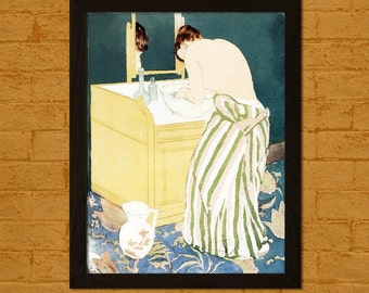 Japanese Art Print Woman Bathing 1890 M. Cassatt Ukiyo-e Poster  Oriental Asian Art Bathroom Art Repro