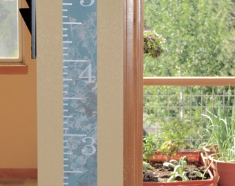 Wooden Growth Chart with Hand-painted Flowers