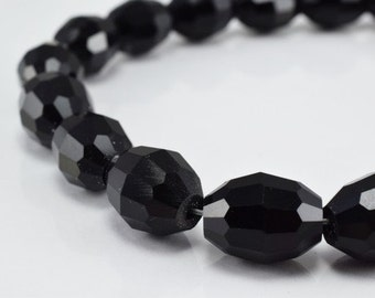Black Oval Faceted Beads for Jewelry or Decoration for Chandelier making Different Sizes
