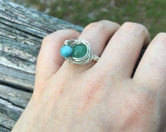 Wire-wrapped ring, size 7