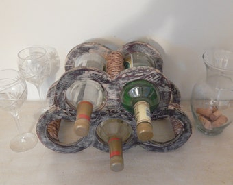 Wine Rack,Countertop,Upcycled,Chalk Paint,Alcohol Rack