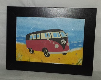 Red and Black Camper Van Beach