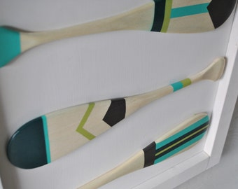 Framed Hand Painted Canoe Paddles