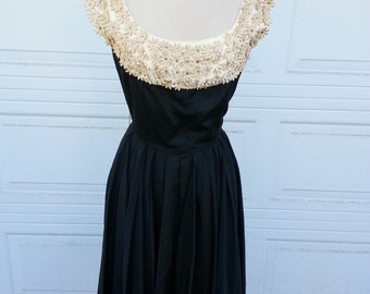 50's/60's Black Taffeta Party Dress w/stain rhinestone flower applique collar & red taffeta under lining