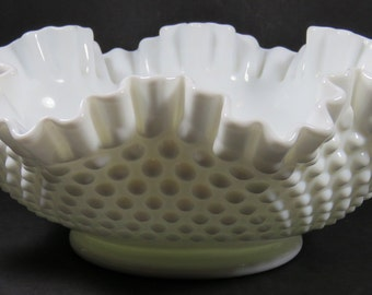 "Fenton Hobnail Milk Glass Double Crimped 11"" Bowl Marked"