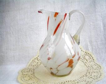 SALE! 30% OFF Glass Soviet Creamers Multicolor Swirl Lines / Vintage Murano Decanter Jug / USSR 80s Pitcher Rustic Retro Kitchen Decor