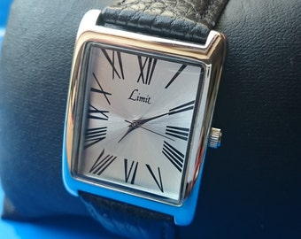 Limit Silver Dial Black Leather Strap Watch                                                                                            .