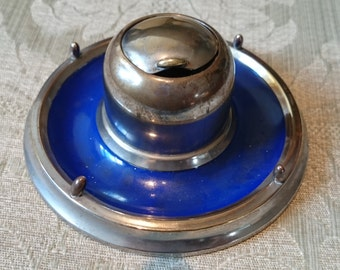 A Very Pretty Eyeball Inkwell with blue painted finish 1930s