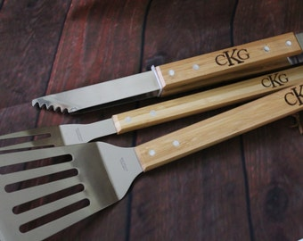 Personalized Grill Tool Set Engraved Bbq Tools Husband