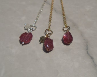 Ruby Rough Neckalce, Raw Ruby Necklace, Ruby and Labradorite Necklace, Ruby and Moonstone Necklace, Gemstone Necklace