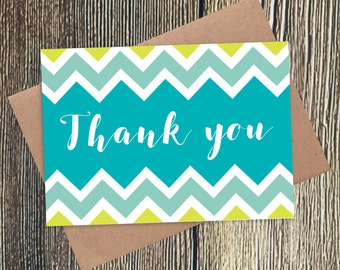 Thank You Card - Chevron Pattern, Colourful