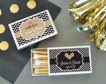 50 Personalized Theme Match Boxes, Wedding, Birthday, Party Favors  (set of 50)