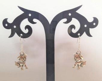 Silver, Puppy Dog, Earrings, Sterling Silver hooks, drop earrings, Mothers's Day