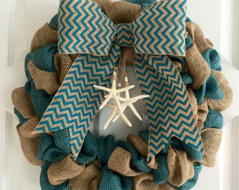 Nautical Wreath, Nautical Burlap Wreath, Rustic Nautical Wreath, Starfish Wreath, Summer Wreath, Anytime Wreath, Beach House Decor