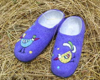 Natural Wool Slippers  funny birds purple felt wool handmade footwear Women Men Traditional wool valenki