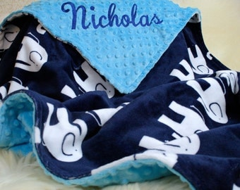 "Personalized  Blanket, 29""x36"" Baby Boy Blanket, Crib Blanket, Car Seat Blanket, Stroller Blanket, Baby Boy Shower Gift"