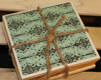 Tile Coasters Teal/black