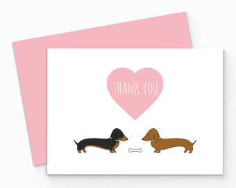 Printable Dachshund Thank You Card - Digital Sausage Dog Thank You Card - Dachshund Thank You Notecard - Dachshund Greeting Card