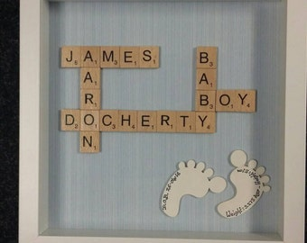 New Baby Scrabble Box Frame