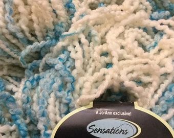 Jo-Ann's SENSATIONS 2005 BELLISSIMO Bellezza Collection in Turquoise & Cream Boucle Yarn Wool Blend 8 skeins Made in Italy New Sparkle