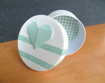 white and celadon green box , origami heart, interior decorated origami paper