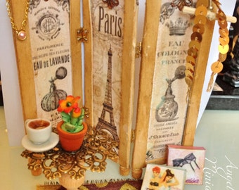 Miniature room divider screen vinatge french parisian boudoire table tea flowers jewelry rug