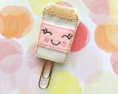 Glitter Latte Planner Clip, Kawaii Latte, Bookmark, Planner Accessories, Embroidered Applique, Machine Embroidered, Felties
