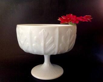 Vintage Milk Glass Planter - Vintage FTD Planter from 1978 - Leaf Pattern Milk Glass Planter, Compote