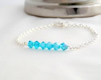 Blue Swarovski Crystal Bracelet - Blue Friendship Bracelet - Blue Bracelet