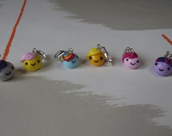 Set of 6 My Little Pony Stitch Markers for crochet - Lobster Clasp