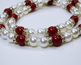 Elegant Pearl Necklace necklace in dark red and white, and Strass stones, festive, elegant party jewelry bracelet