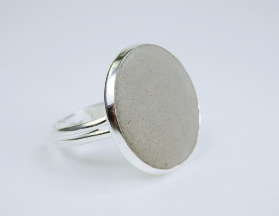 Ring concrete Jewelry in silver ring version jewelry concrete jewelry vintage steampunk ring with concrete grey plain