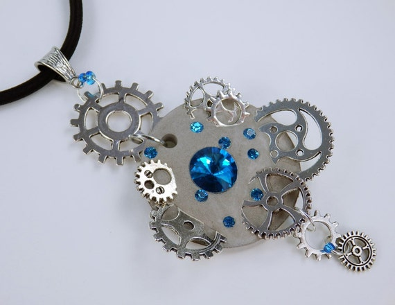 Necklace Glamour steampunk in light blue concrete jewelry on black silk band unique silver toothed rhinestones stones Concrete Jewelry