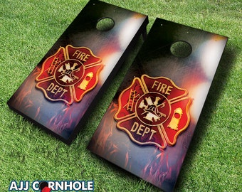 Fire Badge Cornhole Set with Bags - Firefighter Cornhole Set - Fire Department Cornhole - Quality Cornhole Set - Firefighters