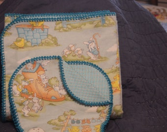 Crocheted Flannel Baby Blanket and Burp Cloth 44 X 42