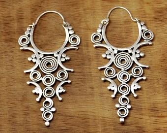 Indian Tribal Earrings, Silver Tribal Earrings, Ethnic Earrings, Indian Earrings, Tribal Jewelry, Gypsy Earrings, Ethnic Jewellery