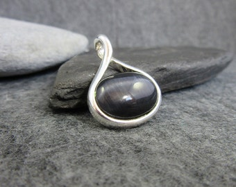 Black, Silver, Tigers Eye, Pendant