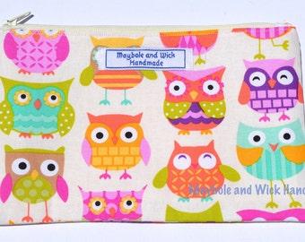 Owls 'Ellis' Pencil Case, handmade pencil case, fabric pencil case