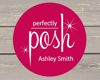 120 White Round Printed Perfectly Posh Customer Consultant Stickers Seals With  Name