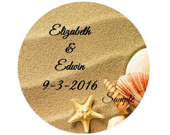 120 Personalized Sand Beach Seashells Destination Wedding Round Stickers Envelope Invitation Seals Labels Favors