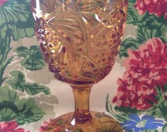 Depression Glass-Goblet-Pressed Glass-Stemmed Goblet-Amber Color-4 Matched Seams-Holiday Stemware-Collector Goblet-Creative TableScape