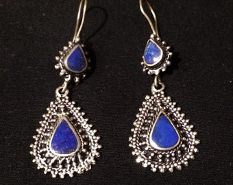 Silver and lapis Earrings.