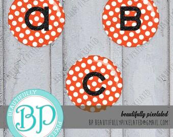 Orange Polka Dot A-Z Alphabet Set - Digital Collage Sheet - 1 Inch Circles for Bottlecaps, Hair Bows, Pendants - Instant Download