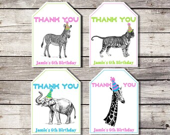 Zoo Animal Favor Tags, Favor Tags, Party Animal Tags, Zoo Birthday Thank You Tag, Safari Favor Tags, Girl, Jungle Favor Tag, Tiger Zebra