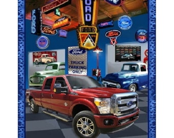 """FORD COLLECTION F 150 truck  tough  100% Cotton fabric panel  35""""x44"""" ford motor company"""