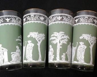 Four 14 Ounce Jeanette Greek Hellenic Jasperware Green Glasses, 4 Green Wedgewood Iced Tea Glasses