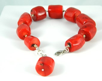 Bracelet red bamboo coral