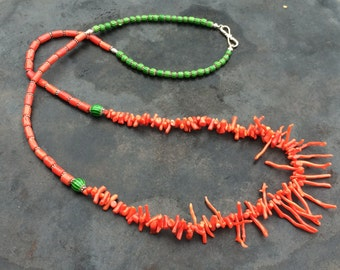 Italian coral necklace, vintage beads, natural, with antique trade beads, Bali & Thai silver