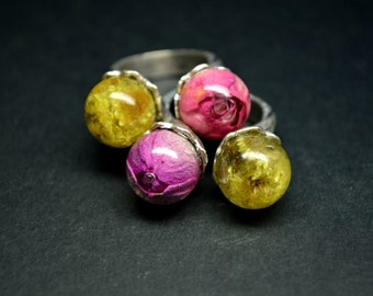 Double Ring with real flowers Crystal Resin Dried flowers Dried Roses Eco Jewelry Floral Ring Natural Ring Double Elegant Jewelry