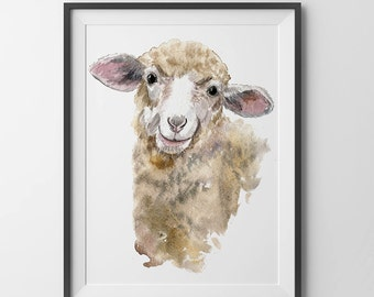 Sheep watercolor Print.Sheep baby art.Sheep painting.nursery decor.baby room wall art. Digital download